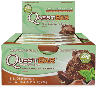 Quest Bar Mint Chocolate Chunk , Box of 12 Bars (60g/bar) | NutriFarm.ca