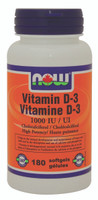 NOW Vitamin D-3 1000 IU, 180 Softgels | NutriFarm.ca