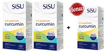 SISU Full Spectrum Curcumin, 2 x 60 Softgels + 30 FREE Softgels | NutriFarm.ca