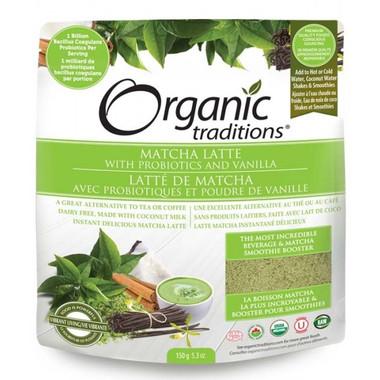 Organic Traditions Matcha Latte with Probiotics and Vanilla, 150 g | NutriFarm.ca