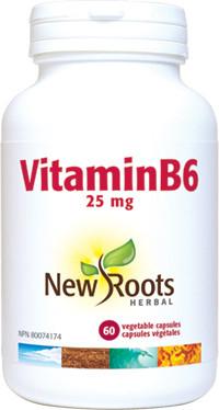 New Roots Vitamin B6 25 mg, 60 Capsules | NutriFarm.ca
