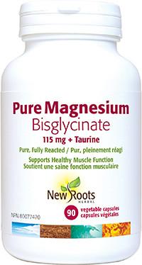 New Roots Pure Magnesium Bisglycinate 115 mg + Taurine, 90 vegetable capsules | NutriFarm.ca