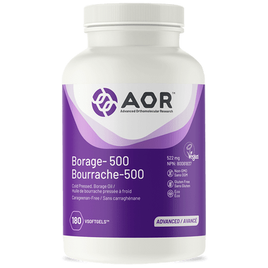AOR Borage 500, 180 V-Softgels | NutriFarm.ca