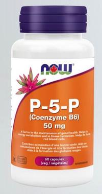 NOW P-5-P (Coenzyme B6) 50 mg, 60 Veg Capsules   NutriFarm.ca
