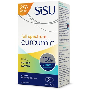 SISU Full Spectrum Curcumin, 60 + 15 FREE Softgels (Bonus Size)   NutriFarm.ca