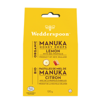 Wedderspoon Organic Manuka Honey Drops Lemon, 120 g | NutriFarm.ca