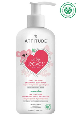 Attitude Baby Leaves 2 in 1 Shampoo Orange Pomegranate, 473 ml | NutriFarm.ca