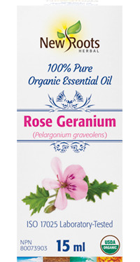 New Roots Rose Geranium Essential Oil, 15 ml | NutriFarm.ca