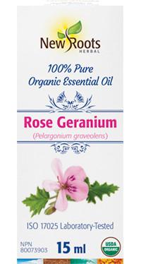 New Roots Rose Geranium Essential Oil, 15 ml | NutriFarm.ca