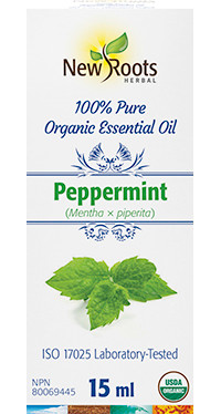 New Roots Peppermint Organic Essential Oil, 15 ml | NutriFarm.ca
