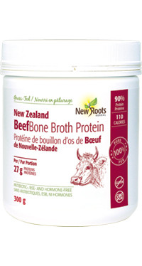 New Roots Beef Bone Broth Protein, 300 g | NutriFarm.ca