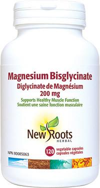 New Roots Magnesium Bisglycinate 200 mg, 120 veg capsules | NutriFarm.ca