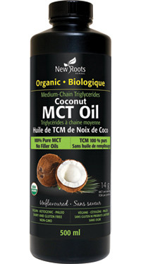 New Roots Organic Coconut MCT Oil, 500 ml | NutriFarm.ca
