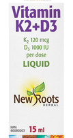 New Roots Vitamin K2+D3, 15 ml | NutriFarm.ca