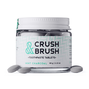 Nelson Naturals Crush and Brush Charcoal(in a glass jar), 60 g | NutriFarm.ca