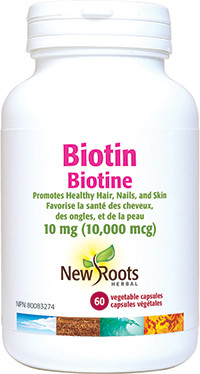 New Roots Biotin 10 mg (10,000 mcg), 60 Veg Caps | NutriFarm.ca