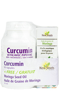 New Roots Curcumin 500 mg, 90 Capsules + Organic Moringa Seed Oil, 30 ml (FREE) | NutriFarm.ca