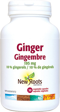 New Roots Ginger 195 mg, 30 Vcaps | NutriFarm.ca
