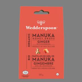 Wedderspoon Organic Manuka Honey Drops Ginger, 120 g | NutriFarm.ca