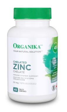 Organika Chelated Zinc, 45 tablets | NutriFarm.ca