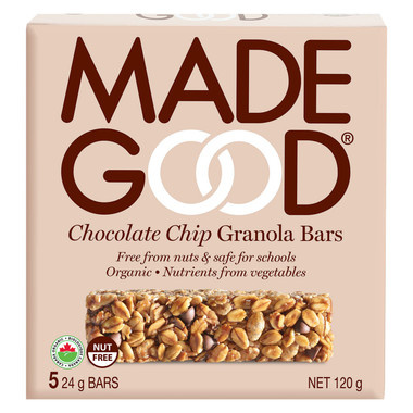 MADEGOOD Chocolate Chip Granola Bar, 1 box (5 bars) | NutriFarm.ca