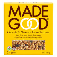 MADEGOOD Chocolate Banana Granola Bar, 1 box (5 bars x 24 g) | NutriFarm.ca