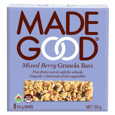 MADEGOOD Mixed Berry Granola Bars, 1 box (5 bars x 24 g) | NutriFarm.ca