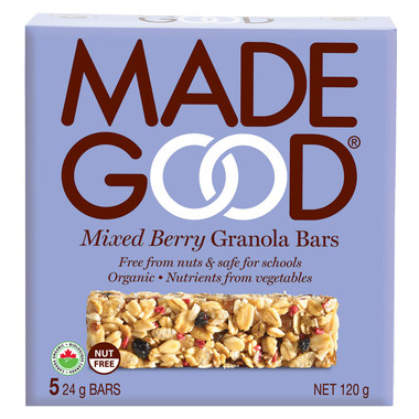 MADEGOOD Mixed Berry Granola Bars, 1 box (5 bars x 24 g) | NutriFarm.ca