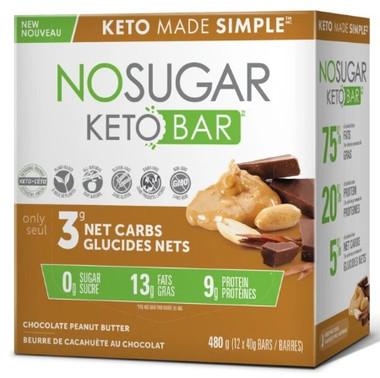 No Sugar Company Keto Chocolate Peanut Butter 40 g, 12 bars   NutriFarm.ca