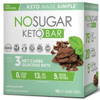 No Sugar Company Keto Chocolate Mint 40 g, 12 bars | NutriFarm.ca
