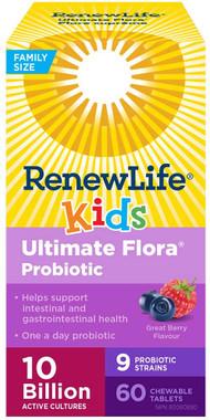 Renew Life Ultimate Flora Kids Probiotic 10 Billion, 60 Chewable Tablets | NutriFarm.ca
