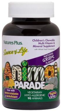 Natures Plus Animal Parade Sugar Free Multivitamins Grape, 90 Chewable tablets   NutriFarm.ca