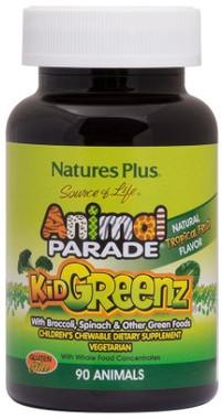 Natures Plus Animal Parade KidGreenz Tropical Fruit, 90 Chewable Tablets   NutriFarm.ca