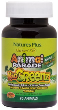 Natures Plus Animal Parade KidGreenz Tropical Fruit, 90 Chewable Tablets | NutriFarm.ca
