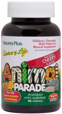 Natures Plus Animal Parade Sugar Free Multivitamins Cherry, 90 Chewable Tablets | NutriFarm.ca