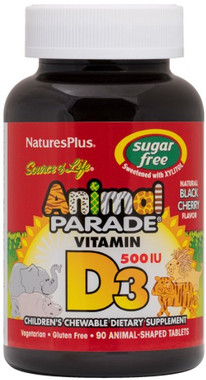 Nature Plus Animal Plus Sugar Free Vitamin D3 Black Cherry, 90 Animals   NutriFarm.ca