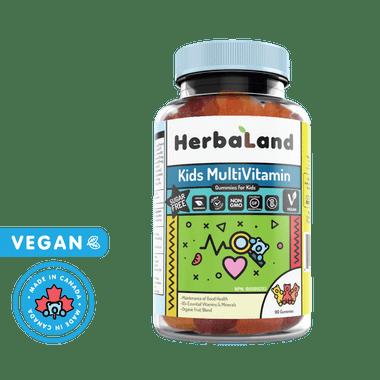 HerbaLand Kids Multivitamin Gummies (SUGAR-FREE), 90 gummies | NutriFarm.ca