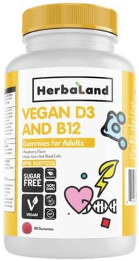 Herbaland Adult Vegan D3 and B12 Gummies, 90 Gummies | NutriFarm.ca