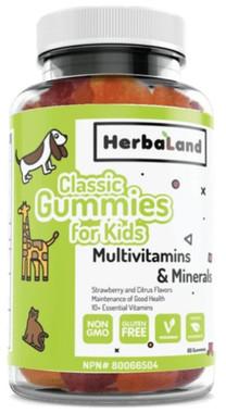 Herbaland Kids Multivitamin and Minerals Classic Gummies, 60 Gummies | NutriFarm.ca