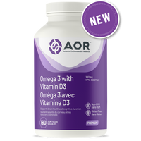 AOR Omega 3 with Vitamin D3, 180 softgels | NutriFarm.ca