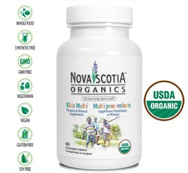 Nova Scotia Organics Kids Multi, 60 Chewable Tablets | NutriFarm.ca