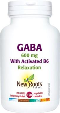 New Roots Gaba 600mg, 150 Capsules | NutriFarm.ca