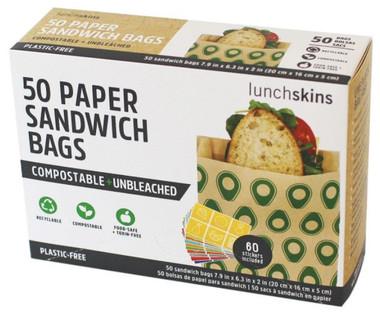 Lunchskins Sandwich bags (avocado), 50 count | NutriFarm.ca