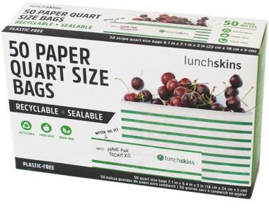 Lunchskins Sandwich Paper Quart Size bags (Stripes), 50 count | NutriFarm.ca