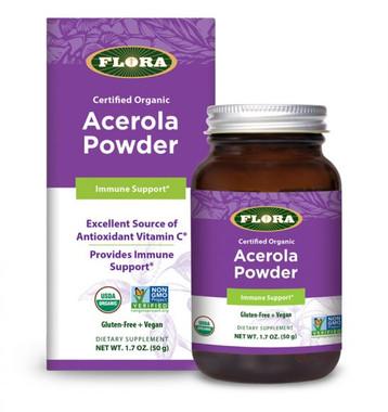 Flora Acerola Powder, 50 g | NutriFarm.ca