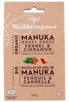Wedderspoon Organic Manuka Honey Drops Fennel and Cinnamon, 120 g | NutriFarm.ca