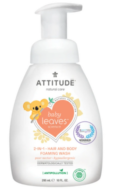 Attitude 2 in 1 Hair and Body Foaming Wash Pear and nectar, 295 ml | NutriFarm.ca