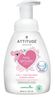 Attitude 2 in 1 Body and Hair Foaming Wash Fragrance Free, 295 ml | NutriFarm.ca