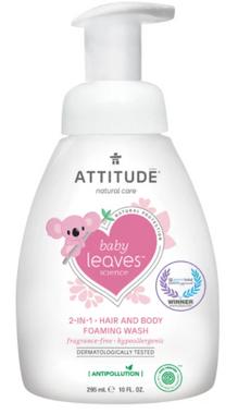 Attitude 2 in 1 Body and Hair Foaming Wash Fragrance Free, 295 ml   NutriFarm.ca