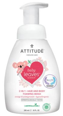 Attitude 2 in 1 Hair and Body Foaming Wash Orange Pomegranate, 295 ml | NutriFarm.ca